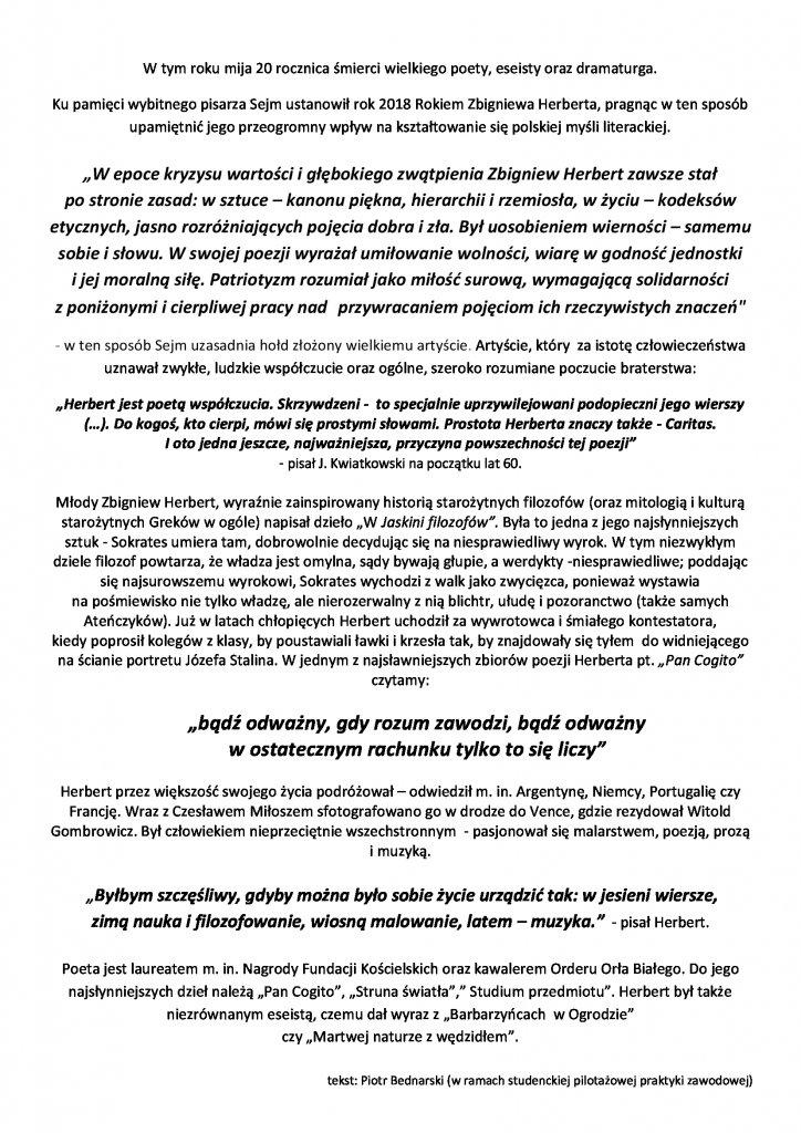 Rok Zbigniewa Herberta Książnica Karkonoska